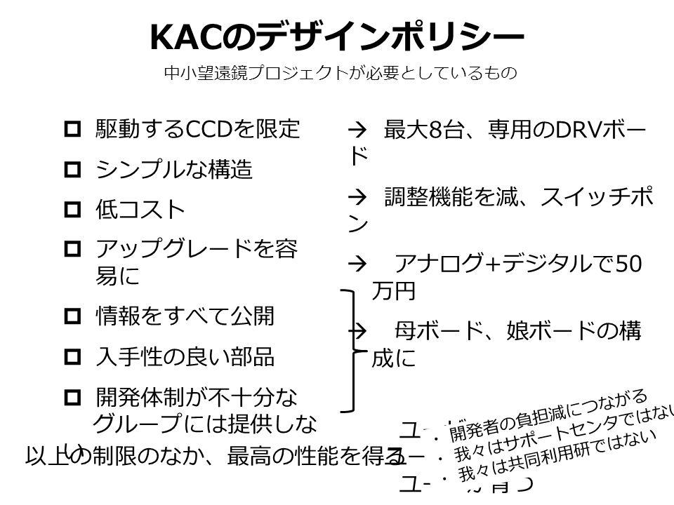 KAC のデザインポリシー 中小望遠鏡プロジェクトが必要としているもの  駆動する CCD を限定  シンプルな構造  低コスト  アップグレードを容 易に  情報をすべて公開  入手性の良い部品  開発体制が不十分な グループには提供しな い 以上の制限のなか、最高の性能を得る  最大 8 台、専用の DRV ボー ド  調整機能を減、スイッチポ ン  アナログ + デジタルで 50 万円  母ボード、娘ボードの構 成に ユーザが機能を理解 ユーザがメンテ ユーザが育つ ・ 開発者の負担減につながる ・ 我々はサポートセンタではない ・ 我々は共同利用研ではない