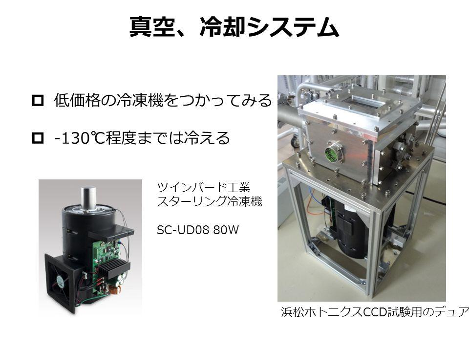 真空、冷却システム  低価格の冷凍機をつかってみる  -130 ℃程度までは冷える 浜松ホトニクス CCD 試験用のデュア ツインバード工業 スターリング冷凍機 SC-UD08 80W