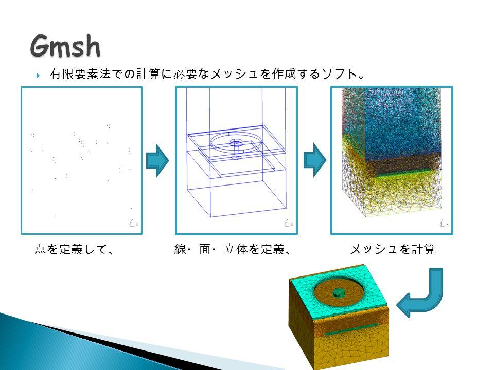 点を定義して、線・面・立体を定義、メッシュを計算  有限要素法での計算に必要なメッシュを作成するソフト。
