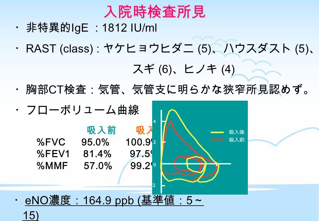 入院時検査所見 ・非特異的 IgE : 1812 IU/ml ・ RAST (class) : ヤケヒョウヒダニ (5) 、ハウスダスト (5) 、 スギ (6) 、ヒノキ (4) ・胸部 CT 検査:気管、気管支に明らかな狭窄所見認めず。 ・フローボリューム曲線 吸入前 吸入後 %FVC 95.0% 100.9% %FEV1 81.4% 97.5% %MMF 57.0% 99.2% ・ eNO 濃度: 164.9 ppb ( 基準値: 5 ~ 15)