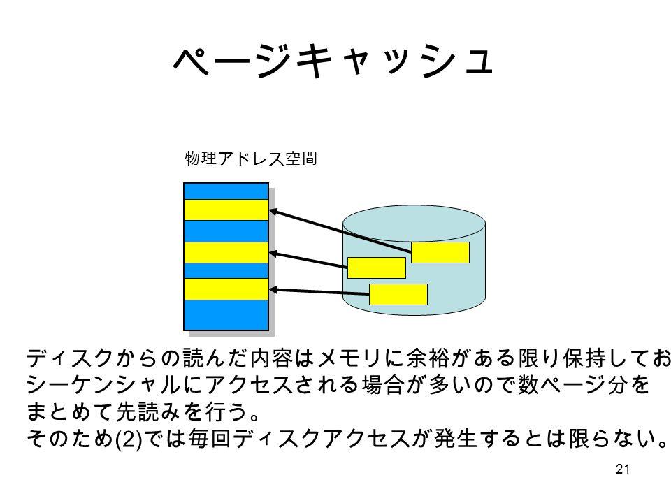 21 ページキャッシュ 物理アドレス空間 ディスクからの読んだ内容はメモリに余裕がある限り保持しておく。 シーケンシャルにアクセスされる場合が多いので数ページ分を まとめて先読みを行う。 そのため (2) では毎回ディスクアクセスが発生するとは限らない。