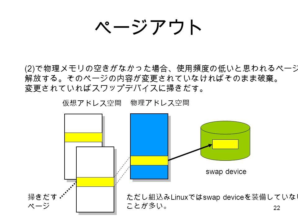 22 ページアウト (2) で物理メモリの空きがなかった場合、使用頻度の低いと思われるページを 解放する。そのページの内容が変更されていなければそのまま破棄。 変更されていればスワップデバイスに掃きだす。 仮想アドレス空間 物理アドレス空間 swap device ただし組込み Linux では swap device を装備していない ことが多い。 掃きだす ページ