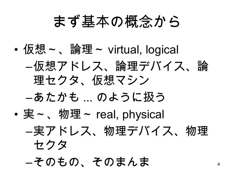 4 まず基本の概念から 仮想~、論理~ virtual, logical – 仮想アドレス、論理デバイス、論 理セクタ、仮想マシン – あたかも...