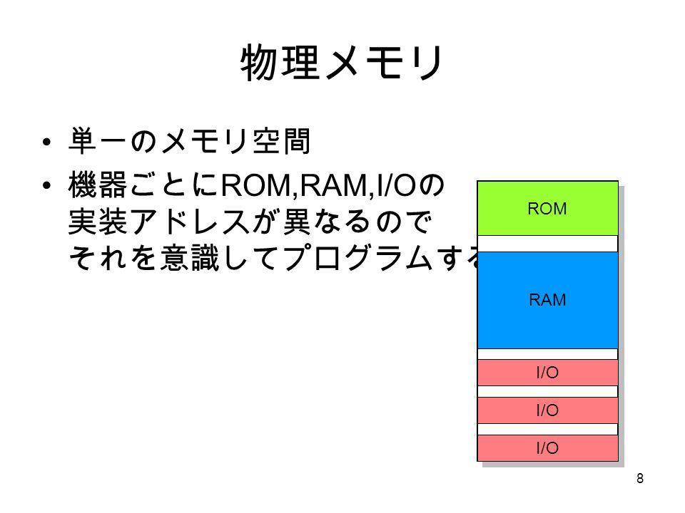 8 物理メモリ 単一のメモリ空間 機器ごとに ROM,RAM,I/O の 実装アドレスが異なるので それを意識してプログラムする ROM RAM I/O