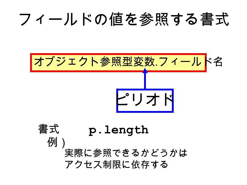 フィールドの値を参照する書式 オブジェクト参照型変数. フィールド名 ピリオド 実際に参照できるかどうかは アクセス制限に依存する p.length 書式 例)
