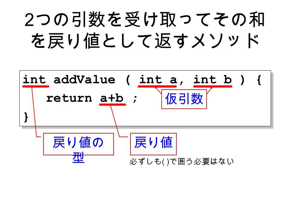 int addValue ( int a, int b ) { return a+b ; } int addValue ( int a, int b ) { return a+b ; } 2 つの引数を受け取ってその和 を戻り値として返すメソッド 戻り値 仮引数 必ずしも ( ) で囲う必要はない 戻り値の 型