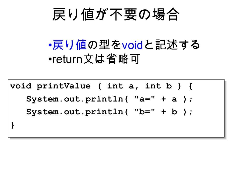 戻り値が不要の場合 戻り値の型を void と記述する return 文は省略可 void printValue ( int a, int b ) { System.out.println( a= + a ); System.out.println( b= + b ); } void printValue ( int a, int b ) { System.out.println( a= + a ); System.out.println( b= + b ); }