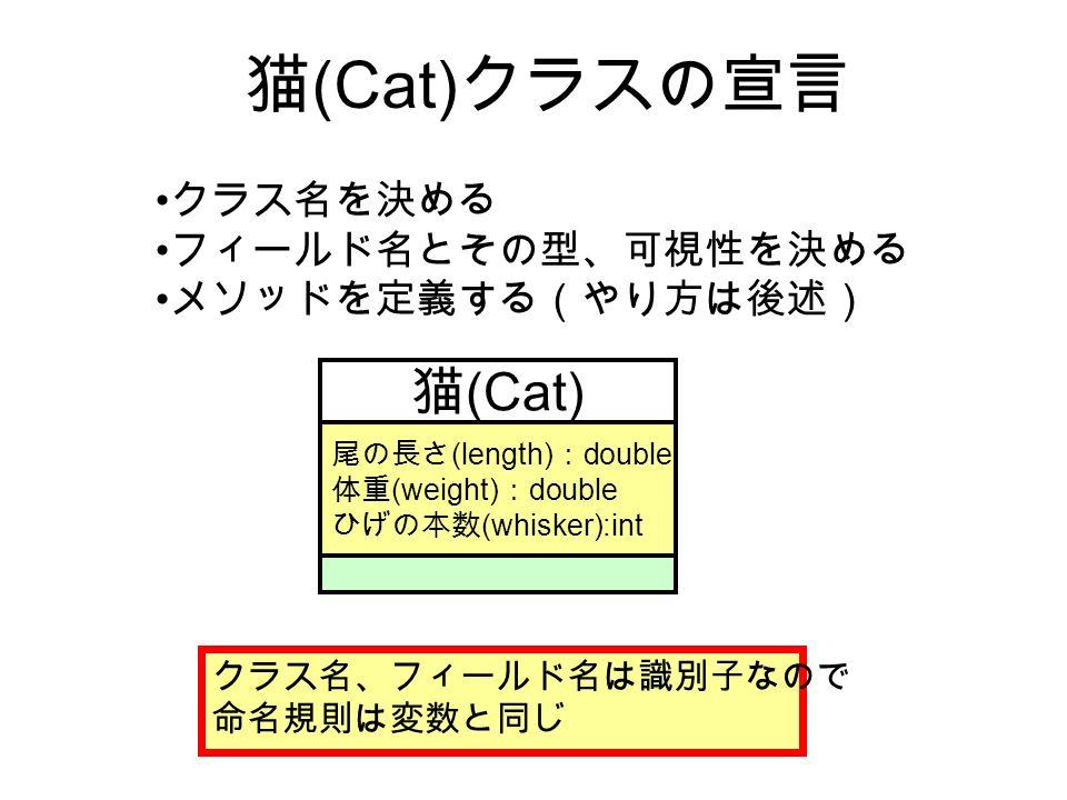 猫 (Cat) クラスの宣言 猫 (Cat) 尾の長さ (length) : double 体重 (weight) : double ひげの本数 (whisker):int クラス名を決める フィールド名とその型、可視性を決める メソッドを定義する(やり方は後述) クラス名、フィールド名は識別子なので 命名規則は変数と同じ