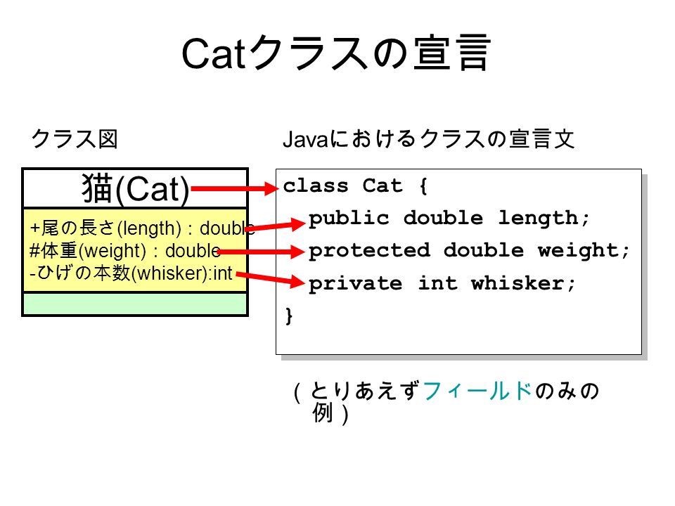 Cat クラスの宣言 class Cat { public double length; protected double weight; private int whisker; } class Cat { public double length; protected double weight; private int whisker; } 猫 (Cat) + 尾の長さ (length) : double # 体重 (weight) : double - ひげの本数 (whisker):int クラス図 Java におけるクラスの宣言文 (とりあえずフィールドのみの 例)