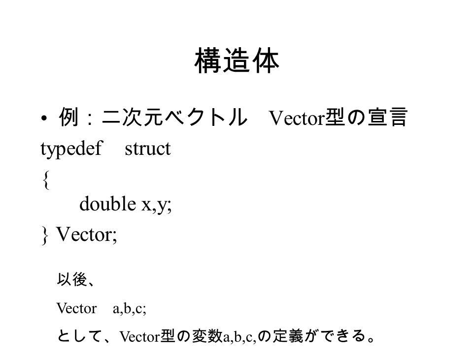 構造体 例:二次元ベクトル Vector 型の宣言 typedef struct { double x,y; } Vector; 以後、 Vector a,b,c; として、 Vector 型の変数 a,b,c, の定義ができる。