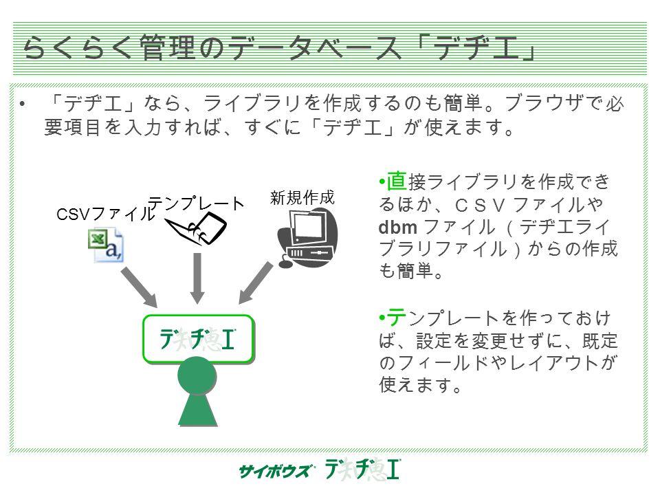 らくらく管理のデータベース「デヂエ」 「デヂエ」なら、ライブラリを作成するのも簡単。ブラウザで必 要項目を入力すれば、すぐに「デヂエ」が使えます。 直 接ライブラリを作成でき るほか、CSV ファイルや dbm ファイル (デヂエライ ブラリファイル)からの作成 も簡単。 テ ンプレートを作っておけ ば、設定を変更せずに、既定 のフィールドやレイアウトが 使えます。 CSV ファイル テンプレート 新規作成