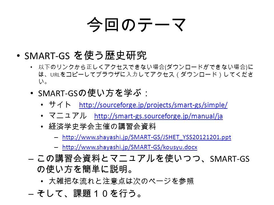 今回のテーマ SMART-GS を使う歴史研究 以下のリンクから正しくアクセスできない場合 ( ダウンロードができない場合 ) に は、 URL をコピーしてブラウザに入力してアクセス(ダウンロード)してくださ い。 SMART-GS の使い方を学ぶ: サイト http://sourceforge.jp/projects/smart-gs/simple/ http://sourceforge.jp/projects/smart-gs/simple/ マニュアル http://smart-gs.sourceforge.jp/manual/ja http://smart-gs.sourceforge.jp/manual/ja 経済学史学会主催の講習会資料 – http://www.shayashi.jp/SMART-GS/JSHET_YSS20121201.ppt http://www.shayashi.jp/SMART-GS/JSHET_YSS20121201.ppt – http://www.shayashi.jp/SMART-GS/kousyu.docx http://www.shayashi.jp/SMART-GS/kousyu.docx – この講習会資料とマニュアルを使いつつ、 SMART-GS の使い方を簡単に説明。 大雑把な流れと注意点は次のページを参照 – そして、課題10を行う。
