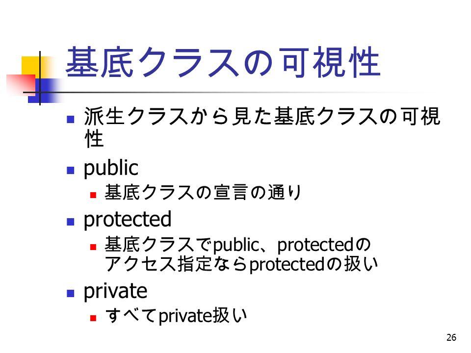 26 基底クラスの可視性 派生クラスから見た基底クラスの可視 性 public 基底クラスの宣言の通り protected 基底クラスで public 、 protected の アクセス指定なら protected の扱い private すべて private 扱い