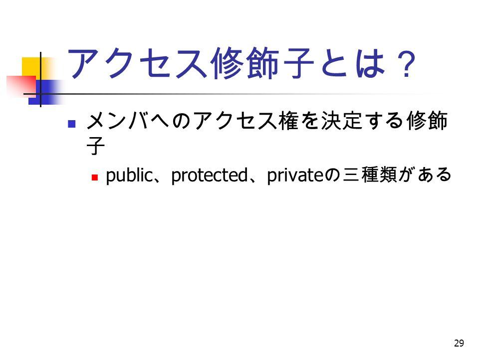 29 アクセス修飾子とは? メンバへのアクセス権を決定する修飾 子 public 、 protected 、 private の三種類がある