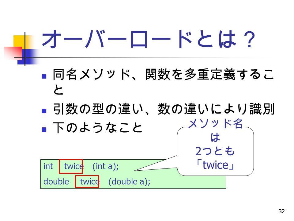 32 オーバーロードとは? 同名メソッド、関数を多重定義するこ と 引数の型の違い、数の違いにより識別 下のようなこと int twice (int a); double twice (double a); メソッド名 は 2 つとも 「 twice 」