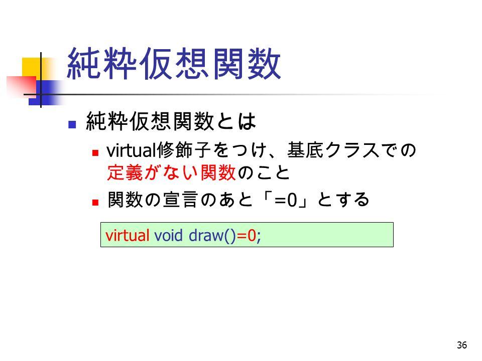 36 純粋仮想関数 純粋仮想関数とは virtual 修飾子をつけ、基底クラスでの 定義がない関数のこと 関数の宣言のあと「 =0 」とする virtual void draw()=0;
