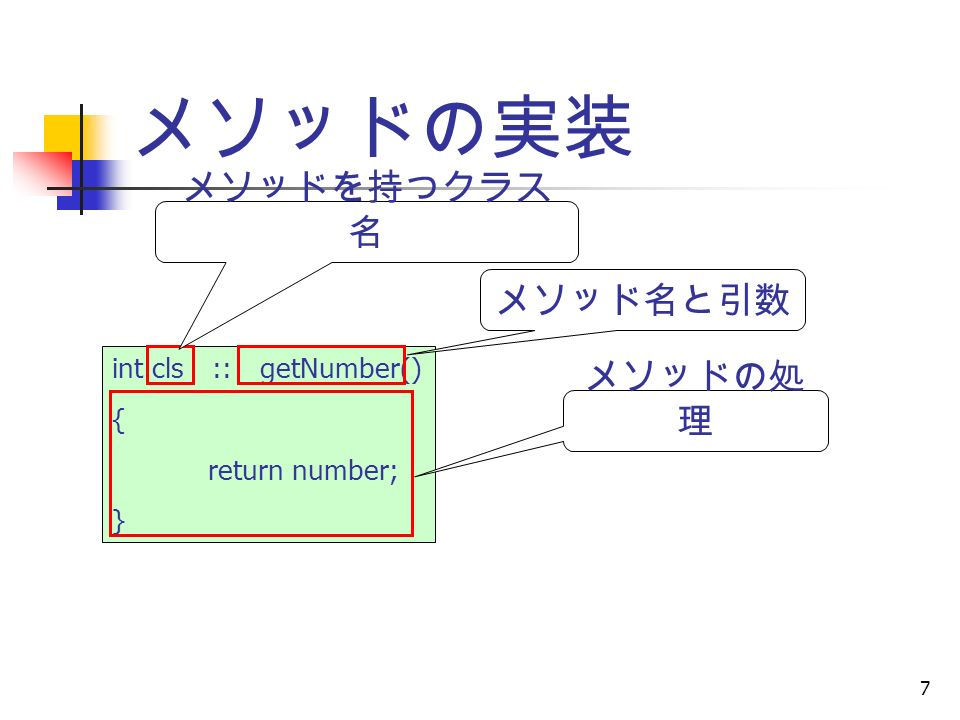 7 メソッドの実装 int cls :: getNumber() { return number; } メソッドを持つクラス 名 メソッド名と引数 メソッドの処 理
