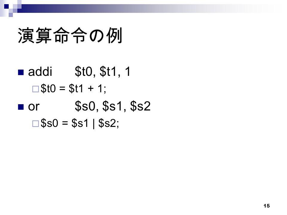15 演算命令の例 addi$t0, $t1, 1  $t0 = $t1 + 1; or$s0, $s1, $s2  $s0 = $s1 | $s2;