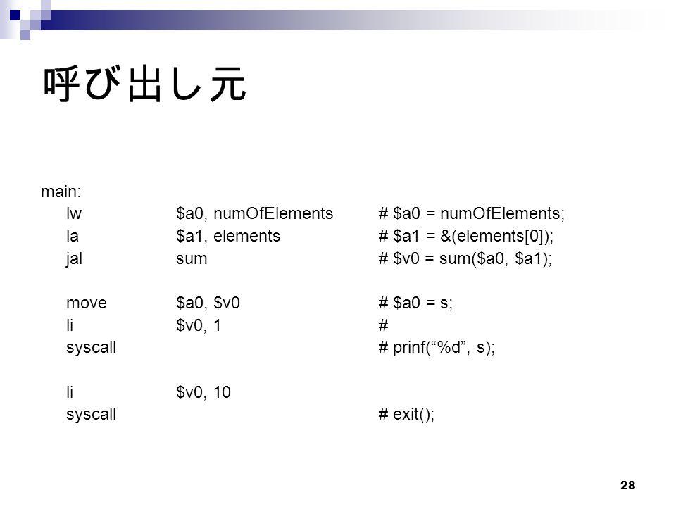 28 呼び出し元 main: lw$a0, numOfElements# $a0 = numOfElements; la$a1, elements# $a1 = &(elements[0]); jalsum# $v0 = sum($a0, $a1); move$a0, $v0# $a0 = s; li$v0, 1# syscall# prinf( %d , s); li$v0, 10 syscall# exit();