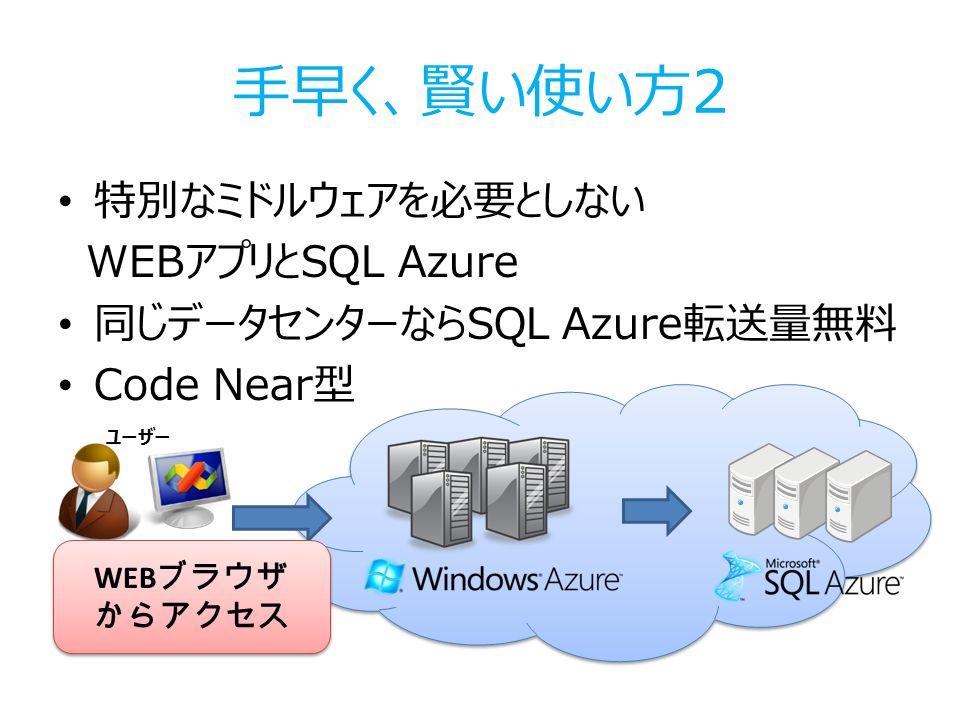 手早く、賢い使い方2 特別なミドルウェアを必要としない WEBアプリとSQL Azure 同じデータセンターならSQL Azure転送量無料 Code Near型 ユーザー WEB ブラウザ からアクセス WEB ブラウザ からアクセス