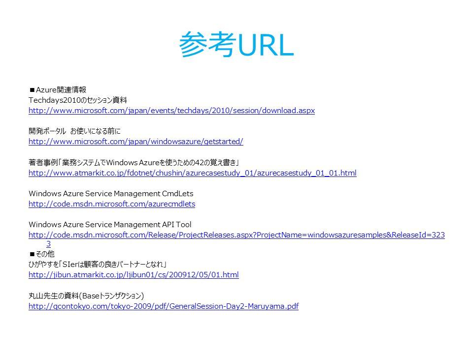 参考URL ■Azure関連情報 Techdays2010のセッション資料 http://www.microsoft.com/japan/events/techdays/2010/session/download.aspx 開発ポータル お使いになる前に http://www.microsoft.com/japan/windowsazure/getstarted/ 著者事例「業務システムでWindows Azureを使うための42の覚え書き」 http://www.atmarkit.co.jp/fdotnet/chushin/azurecasestudy_01/azurecasestudy_01_01.html Windows Azure Service Management CmdLets http://code.msdn.microsoft.com/azurecmdlets Windows Azure Service Management API Tool http://code.msdn.microsoft.com/Release/ProjectReleases.aspx ProjectName=windowsazuresamples&ReleaseId=323 3 ■その他 ひがやすを「SIerは顧客の良きパートナーとなれ」 http://jibun.atmarkit.co.jp/ljibun01/cs/200912/05/01.html 丸山先生の資料(Baseトランザクション) http://qcontokyo.com/tokyo-2009/pdf/GeneralSession-Day2-Maruyama.pdf