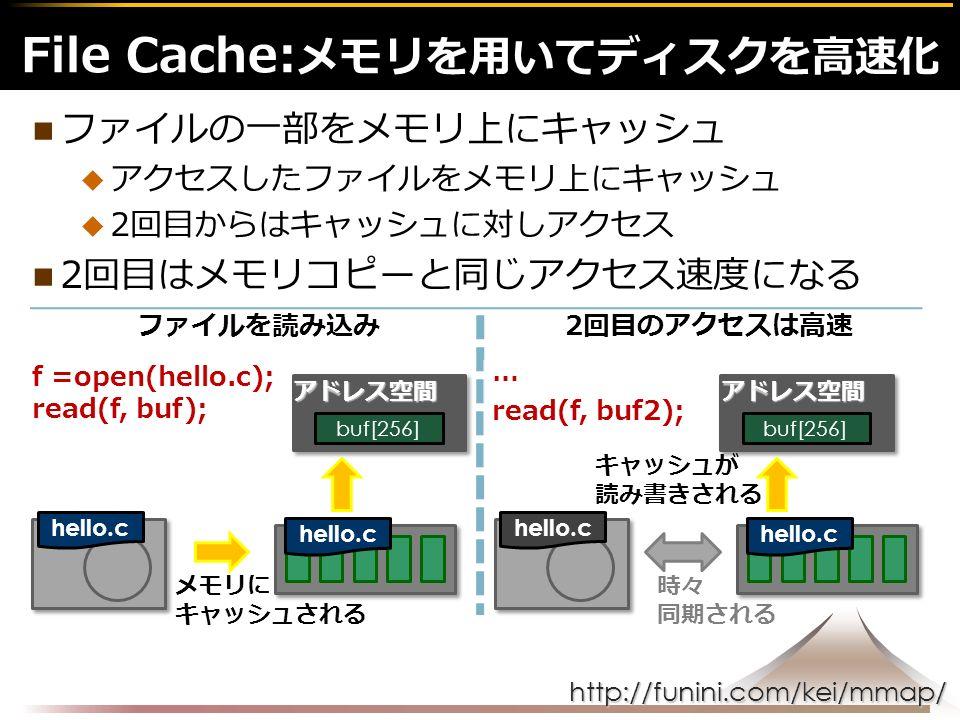http://funini.com/kei/mmap/ ファイルの一部をメモリ上にキャッシュ  アクセスしたファイルをメモリ上にキャッシュ  2回目からはキャッシュに対しアクセス 2回目はメモリコピーと同じアクセス速度になる File Cache: メモリを用いてディスクを高速化 f =open(hello.c); read(f, buf); メモリに キャッシュされる ファイルを読み込み hello.c … read(f, buf2); キャッシュが 読み書きされる 2回目のアクセスは高速 hello.c アドレス空間 buf[256] アドレス空間 時々 同期される