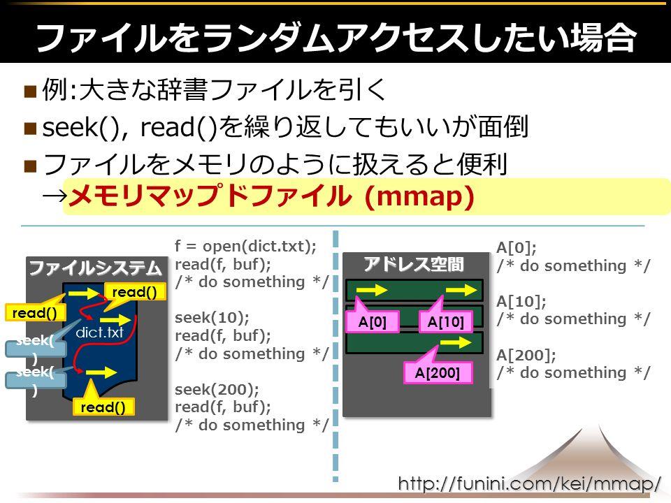 http://funini.com/kei/mmap/ 例:大きな辞書ファイルを引く seek(), read()を繰り返してもいいが面倒 ファイルをメモリのように扱えると便利 →メモリマップドファイル (mmap) ファイルをランダムアクセスしたい場合ファイルシステム dict.txt アドレス空間 read() A[0] A[200] seek( ) f = open(dict.txt); read(f, buf); /* do something */ seek(10); read(f, buf); /* do something */ seek(200); read(f, buf); /* do something */ A[0]; /* do something */ A[10]; /* do something */ A[200]; /* do something */ read() A[10]