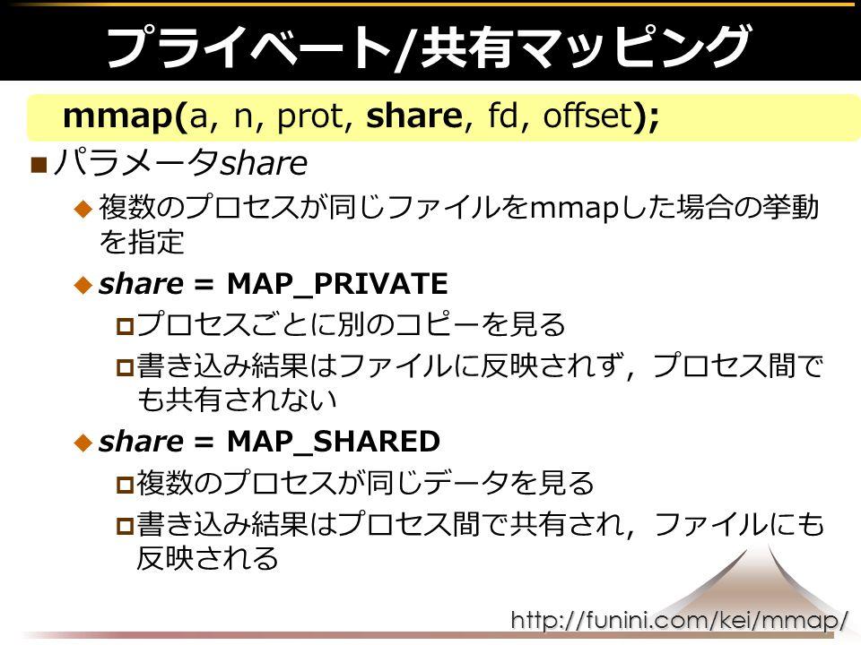 http://funini.com/kei/mmap/ mmap(a, n, prot, share, fd, offset); パラメータshare  複数のプロセスが同じファイルをmmapした場合の挙動 を指定  share = MAP_PRIVATE  プロセスごとに別のコピーを見る  書き込み結果はファイルに反映されず,プロセス間で も共有されない  share = MAP_SHARED  複数のプロセスが同じデータを見る  書き込み結果はプロセス間で共有され,ファイルにも 反映される プライベート/共有マッピング