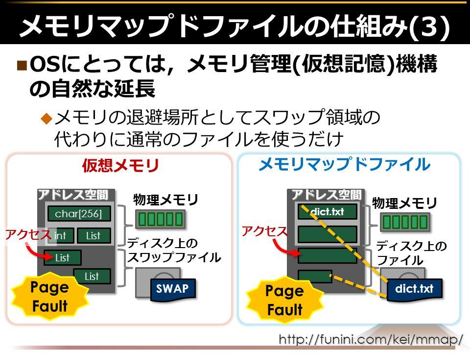 http://funini.com/kei/mmap/ OSにとっては,メモリ管理(仮想記憶)機構 の自然な延長  メモリの退避場所としてスワップ領域の 代わりに通常のファイルを使うだけ メモリマップドファイルの仕組み(3)アドレス空間 物理メモリ SWAP アドレス空間 dict.txt 物理メモリ dict.txt 仮想メモリ メモリマップドファイル char[256] int List ディスク上の スワップファイル ディスク上の ファイル アクセス Page Fault