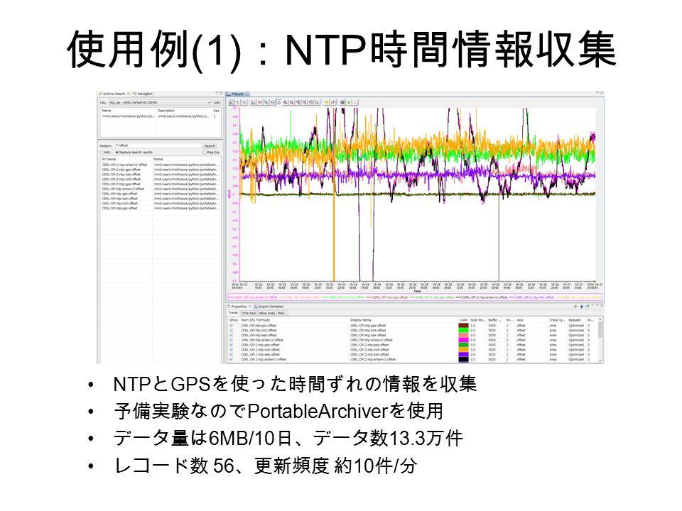 使用例 (1) : NTP 時間情報収集 NTP と GPS を使った時間ずれの情報を収集 予備実験なので PortableArchiver を使用 データ量は 6MB/10 日、データ数 13.3 万件 レコード数 56 、更新頻度 約 10 件 / 分