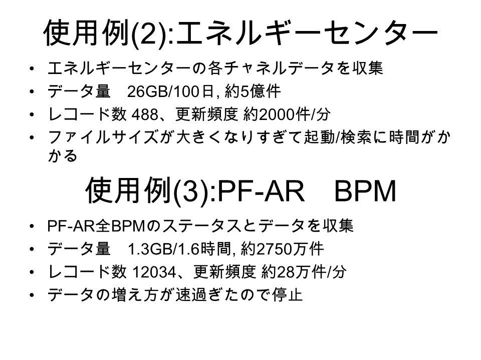 使用例 (2): エネルギーセンター エネルギーセンターの各チャネルデータを収集 データ量 26GB/100 日, 約 5 億件 レコード数 488 、更新頻度 約 2000 件 / 分 ファイルサイズが大きくなりすぎて起動 / 検索に時間がか かる 使用例 (3):PF-AR BPM PF-AR 全 BPM のステータスとデータを収集 データ量 1.3GB/1.6 時間, 約 2750 万件 レコード数 12034 、更新頻度 約 28 万件 / 分 データの増え方が速過ぎたので停止