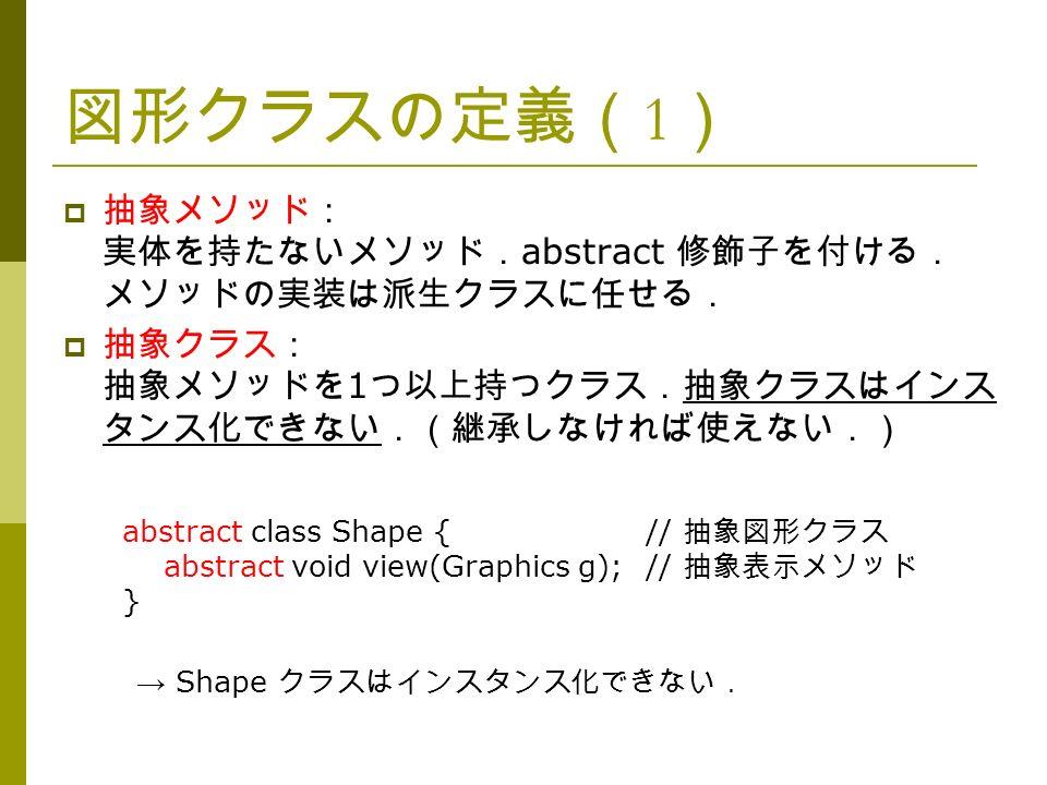 図形クラスの定義( 1 )  抽象メソッド: 実体を持たないメソッド. abstract 修飾子を付ける. メソッドの実装は派生クラスに任せる.  抽象クラス: 抽象メソッドを 1 つ以上持つクラス.抽象クラスはインス タンス化できない.(継承しなければ使えない.) abstract class Shape {// 抽象図形クラス abstract void view(Graphics g);// 抽象表示メソッド } → Shape クラスはインスタンス化できない.