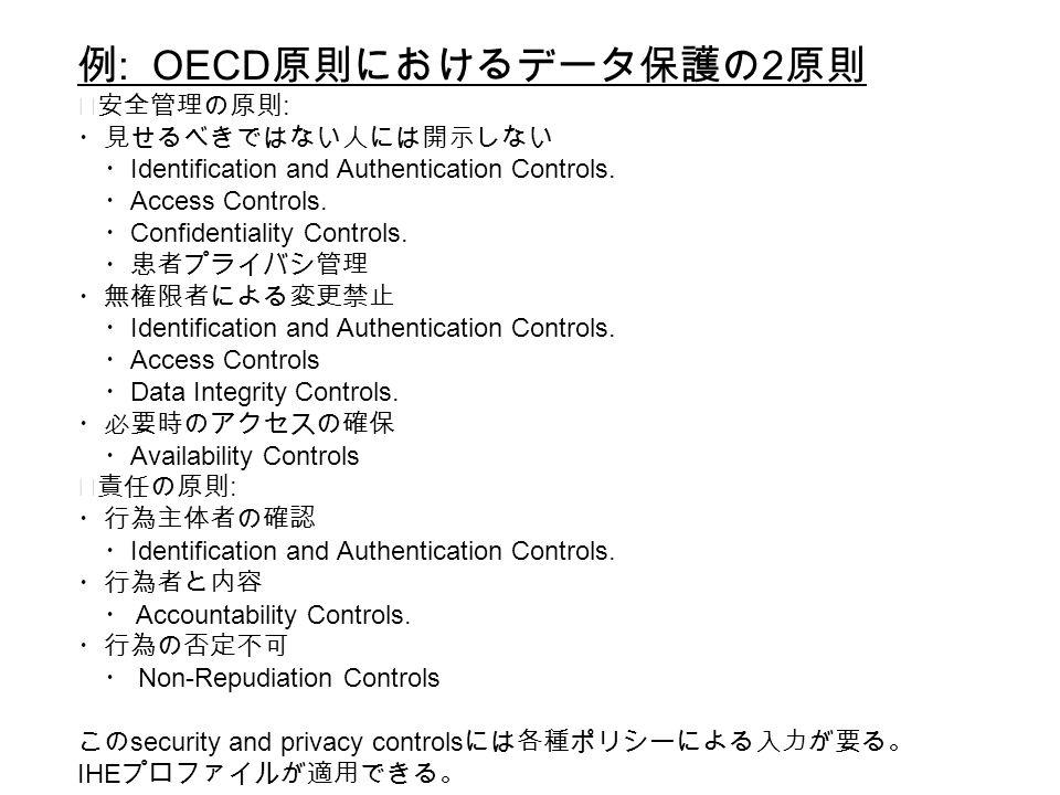 例 : OECD 原則におけるデータ保護の 2 原則 ◆安全管理の原則 : ・見せるべきではない人には開示しない ・ Identification and Authentication Controls.