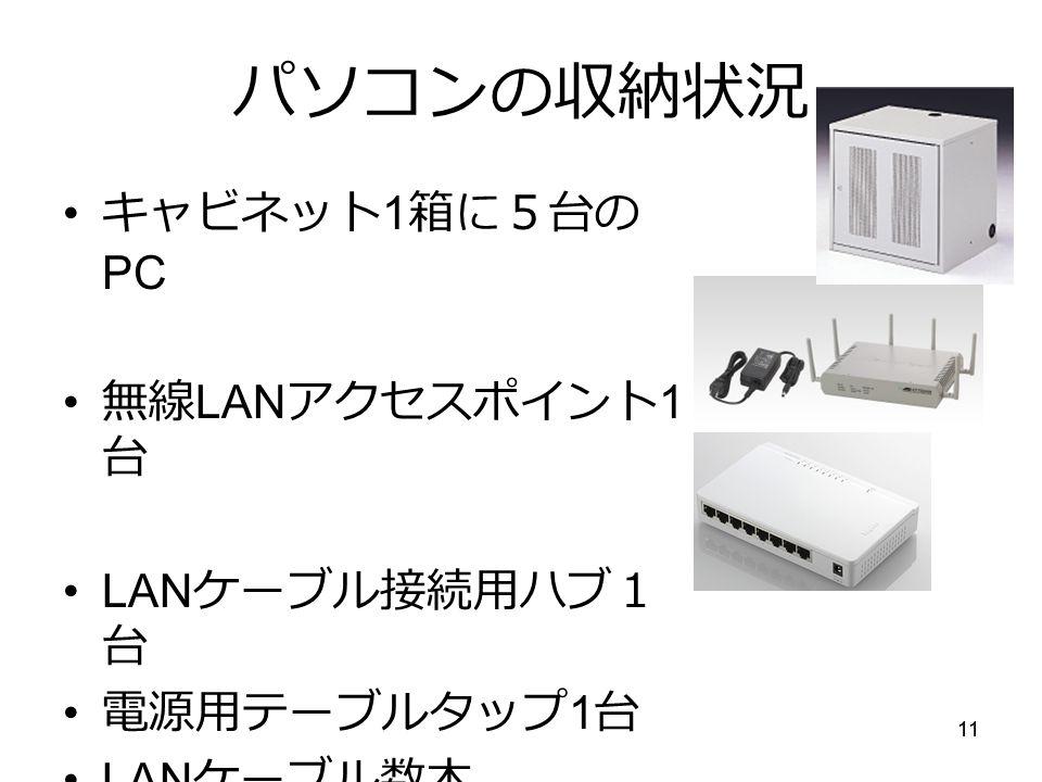 11 パソコンの収納状況 キャビネット 1 箱に5台の PC 無線 LAN アクセスポイント 1 台 LAN ケーブル接続用ハブ1 台 電源用テーブルタップ 1 台 LAN ケーブル数本