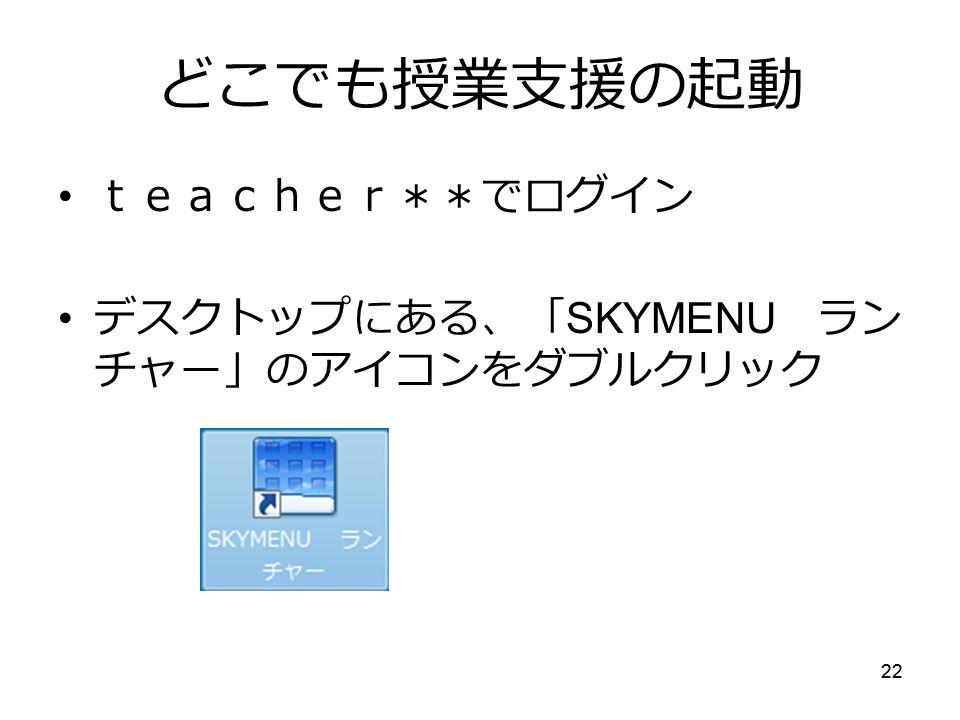 22 どこでも授業支援の起動 teacher**でログイン デスクトップにある、「 SKYMENU ラン チャー」のアイコンをダブルクリック