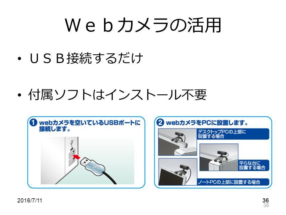 36 Webカメラの活用 USB接続するだけ 付属ソフトはインストール不要 2016/7/11 36