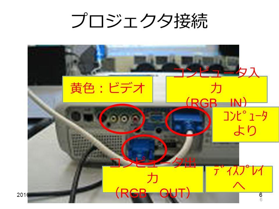 662016/7/11 6 プロジェクタ接続 黄色:ビデオ コンピュータ入 力 ( RGB IN ) コンピュータ出 力 ( RGB OUT ) コンピュータ より ディスプレイ へ