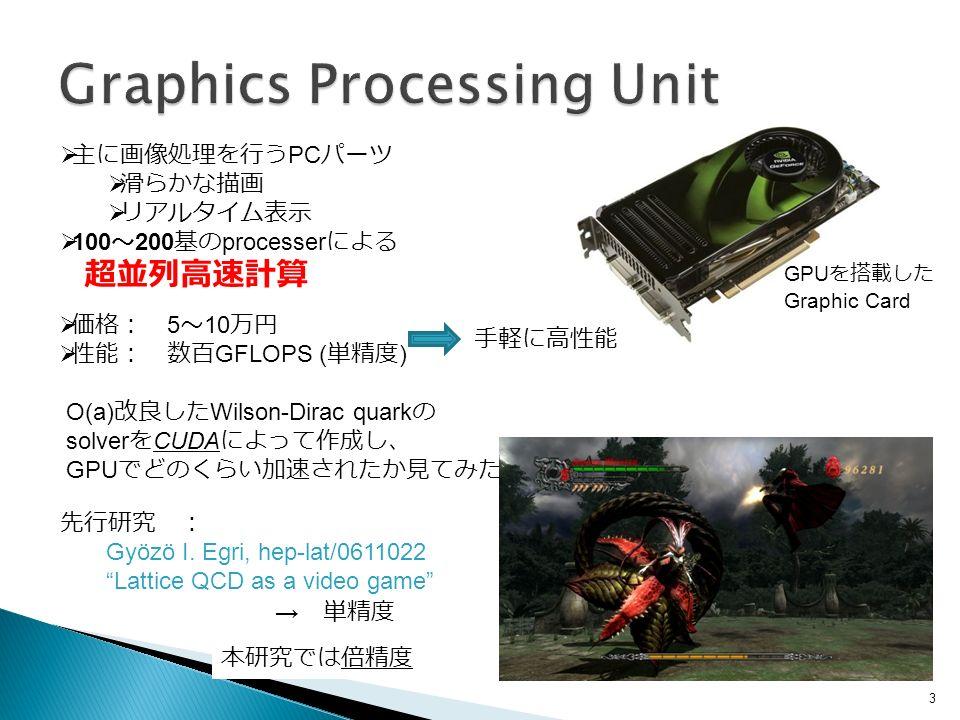 3 GPU を搭載した Graphic Card  価格: 5 ~ 10 万円  性能: 数百 GFLOPS ( 単精度 )  主に画像処理を行う PC パーツ  滑らかな描画  リアルタイム表示  100 ~ 200 基の processer による 超並列高速計算 O(a) 改良した Wilson-Dirac quark の solver を CUDA によって作成し、 GPU でどのくらい加速されたか見てみた Gyözö I.