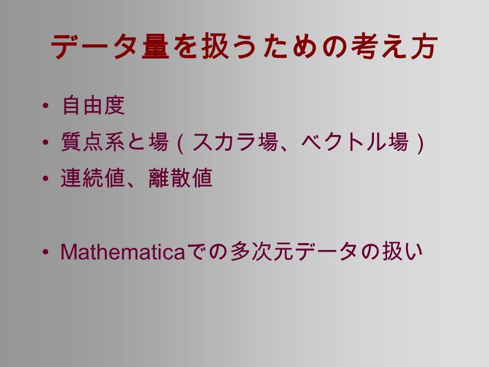 データ量を扱うための考え方 自由度 質点系と場(スカラ場、ベクトル場) 連続値、離散値 Mathematica での多次元データの扱い