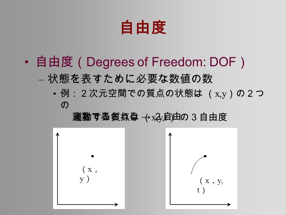 自由度 自由度( Degrees of Freedom: DOF ) – 状態を表すために必要な数値の数 例:2次元空間での質点の状態は ( x,y )の2つ の 変数で表される → 2自由 (x,y)(x,y) 運動する質点は ( x,y,t ) の3自由度 ( x , y, t )