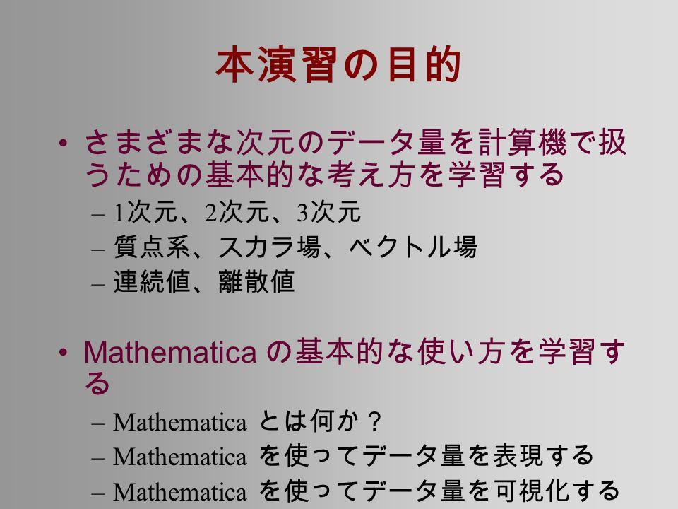 本演習の目的 さまざまな次元のデータ量を計算機で扱 うための基本的な考え方を学習する –1 次元、 2 次元、 3 次元 – 質点系、スカラ場、ベクトル場 – 連続値、離散値 Mathematica の基本的な使い方を学習す る –Mathematica とは何か? –Mathematica を使ってデータ量を表現する –Mathematica を使ってデータ量を可視化する
