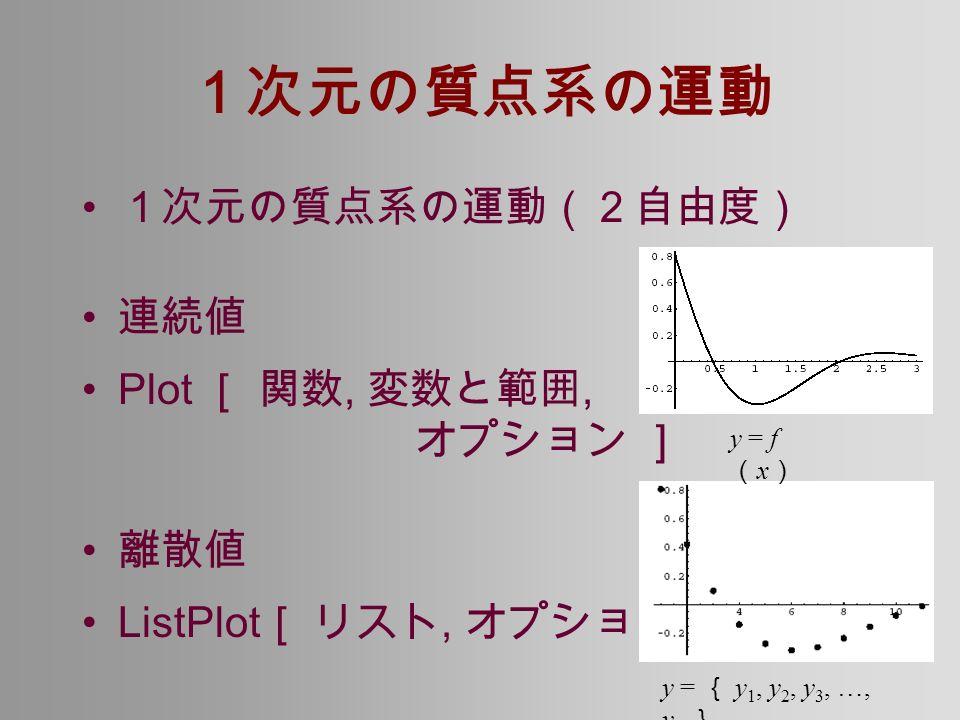 1次元の質点系の運動 1次元の質点系の運動(2自由度) 連続値 Plot [ 関数, 変数と範囲, オプション ] 離散値 ListPlot [ リスト, オプション ] y = f ( x ) y = { y 1, y 2, y 3, …, y n }