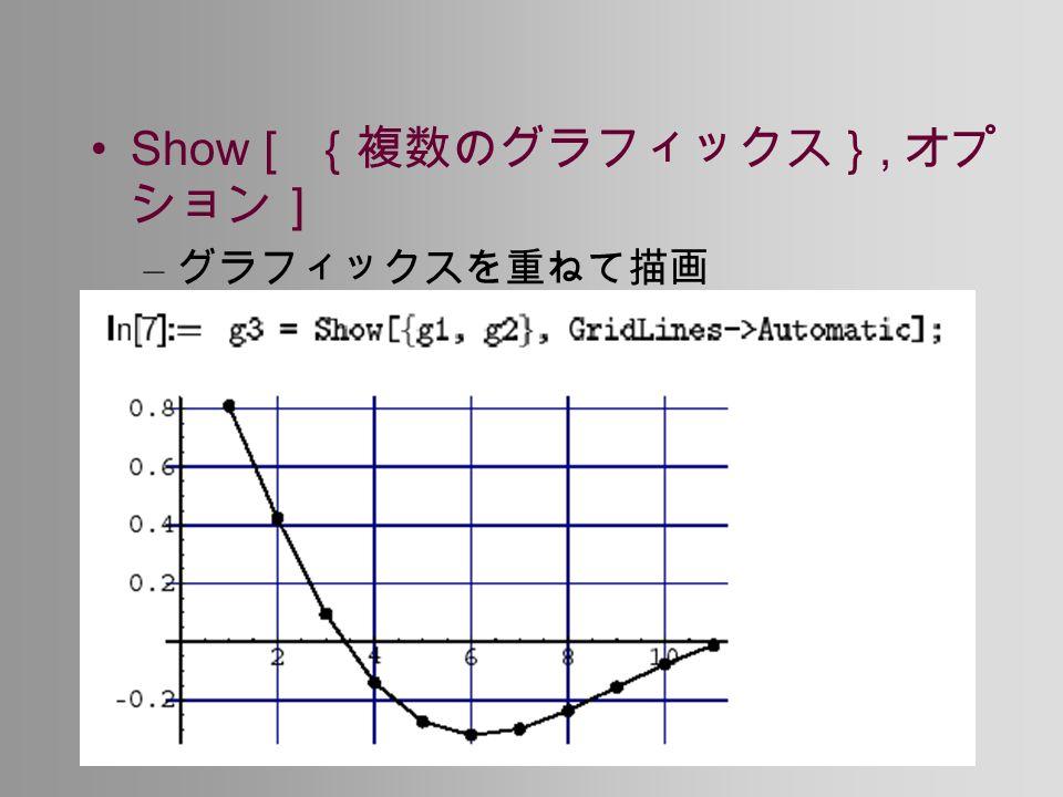 Show [ {複数のグラフィックス}, オプ ション] – グラフィックスを重ねて描画