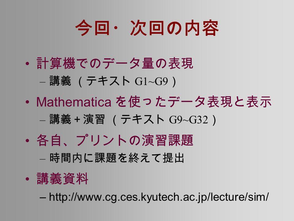 今回・次回の内容 計算機でのデータ量の表現 – 講義 (テキスト G1~G9 ) Mathematica を使ったデータ表現と表示 – 講義+演習 (テキスト G9~G32 ) 各自、プリントの演習課題 – 時間内に課題を終えて提出 講義資料 –http://www.cg.ces.kyutech.ac.jp/lecture/sim/
