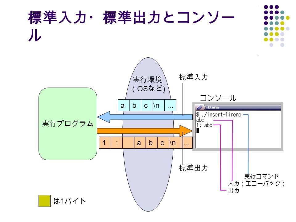 標準入力・標準出力とコンソー ル 実行環境 ( OS など ) abc\n... 1:abc\n...