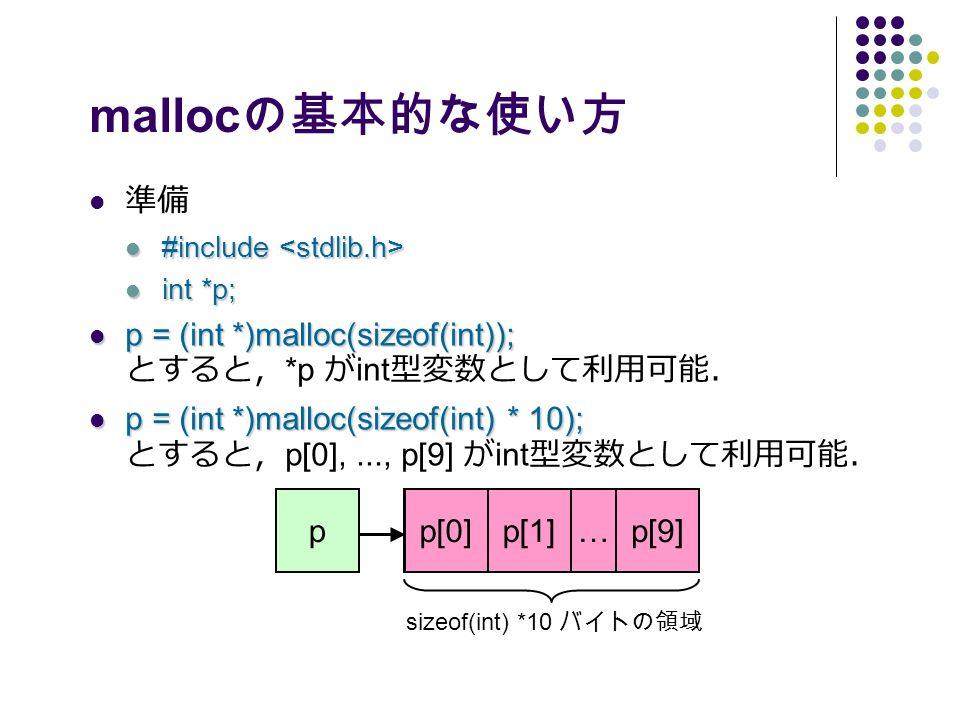 malloc の基本的な使い方 準備 #include #include int *p; int *p; p = (int *)malloc(sizeof(int)); p = (int *)malloc(sizeof(int)); とすると, *p が int 型変数として利用可能. p = (int *)malloc(sizeof(int) * 10); p = (int *)malloc(sizeof(int) * 10); とすると, p[0],..., p[9] が int 型変数として利用可能. p sizeof(int) *10 バイトの領域 p[0]p[1]p[9]…