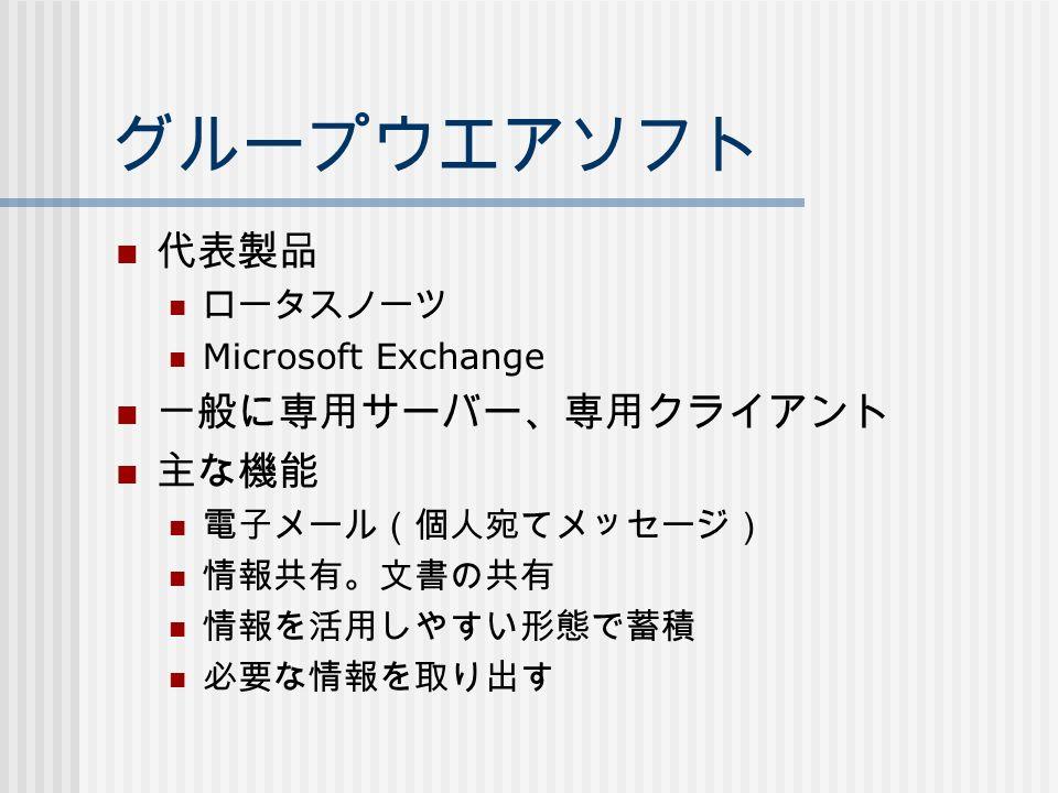 グループウエアソフト 代表製品 ロータスノーツ Microsoft Exchange 一般に専用サーバー、専用クライアント 主な機能 電子メール(個人宛てメッセージ) 情報共有。文書の共有 情報を活用しやすい形態で蓄積 必要な情報を取り出す