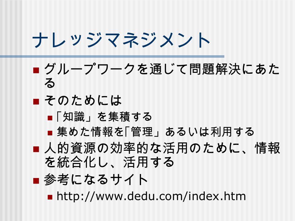 ナレッジマネジメント グループワークを通じて問題解決にあた る そのためには 「知識」を集積する 集めた情報を「管理」あるいは利用する 人的資源の効率的な活用のために、情報 を統合化し、活用する 参考になるサイト http://www.dedu.com/index.htm