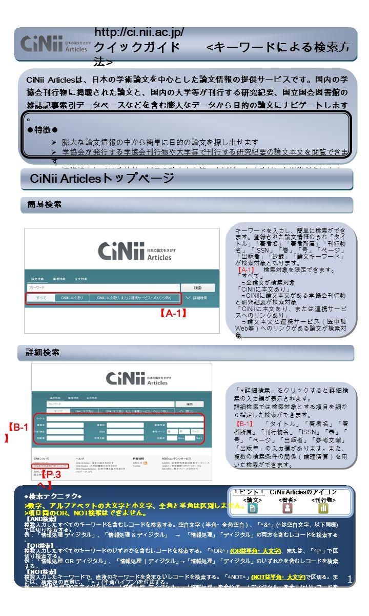 CiNii Articles は、日本の学術論文を中心とした論文情報の提供サービスです。国内の学 協会刊行物に掲載された論文と、国内の大学等が刊行する研究紀要、国立国会図書館の 雑誌記事索引データベースなどを含む膨大なデータから目的の論文にナビゲートします 。 ● 特徴 ●  膨大な論文情報の中から簡単に目的の論文を探し出せます  学協会が発行する学協会刊行物や大学等で刊行する研究紀要の論文本文を閲覧できま す  連携協力している他サービスの論文本文等へナビゲートするリンク機能があります CiNii Articles は、日本の学術論文を中心とした論文情報の提供サービスです。国内の学 協会刊行物に掲載された論文と、国内の大学等が刊行する研究紀要、国立国会図書館の 雑誌記事索引データベースなどを含む膨大なデータから目的の論文にナビゲートします 。 ● 特徴 ●  膨大な論文情報の中から簡単に目的の論文を探し出せます  学協会が発行する学協会刊行物や大学等で刊行する研究紀要の論文本文を閲覧できま す  連携協力している他サービスの論文本文等へナビゲートするリンク機能があります CiNii Articles トップページ 簡易検索 キーワードを入力し、簡単に検索ができ ます。登録された論文情報のうち「タイ トル」「著者名」「著者所属」「刊行物 名」「 ISSN 」「巻」「号」「ページ」 「出版者」「抄録」「論文キーワード」 が検索対象となります。 【 A-1 】 検索対象を限定できます。 「すべて」 ⇒全論文が検索対象 「 CiNii に本文あり」 ⇒ CiNii に論文本文がある学協会刊行物 と研究紀要が検索対象 「 CiNii に本文あり、または連携サービ スへのリンクあり」 ⇒論文本文と連携サービス(医中誌 Web 等)へのリンクがある論文が検索対 象 キーワードを入力し、簡単に検索ができ ます。登録された論文情報のうち「タイ トル」「著者名」「著者所属」「刊行物 名」「 ISSN 」「巻」「号」「ページ」 「出版者」「抄録」「論文キーワード」 が検索対象となります。 【 A-1 】 検索対象を限定できます。 「すべて」 ⇒全論文が検索対象 「 CiNii に本文あり」 ⇒ CiNii に論文本文がある学協会刊行物 と研究紀要が検索対象 「 CiNii に本文あり、または連携サービ スへのリンクあり」 ⇒論文本文と連携サービス(医中誌 Web 等)へのリンクがある論文が検索対 象 詳細検索 【 B-1 】 【 P.3 へ】 「 ▼ 詳細検索」をクリックすると詳細検 索の入力欄が表示されます。 詳細検索では検索対象とする項目を細か く指定した検索ができます。 【 B-1 】 「タイトル」「著者名」「著 者所属」「刊行物名」「 ISSN 」「巻」「 号」「ページ」「出版者」「参考文献」 「出版年」の入力欄があります。また、 複数の検索条件の関係(論理演算)を用 いた検索ができます。 「 ▼ 詳細検索」をクリックすると詳細検 索の入力欄が表示されます。 詳細検索では検索対象とする項目を細か く指定した検索ができます。 【 B-1 】 「タイトル」「著者名」「著 者所属」「刊行物名」「 ISSN 」「巻」「 号」「ページ」「出版者」「参考文献」 「出版年」の入力欄があります。また、 複数の検索条件の関係(論理演算)を用 いた検索ができます。 !ヒント! CiNii Articles のアイコン 1 ◆検索テクニック◆  数字、アルファベットの大文字と小文字、全角と半角は区別しません。  項目間の OR 、 NOT 検索はできません。 【 AND 検索】 複数入力したすべてのキーワードを含むレコードを検索する。空白文字(半角・全角空白)、「△ & △」 ( △は空白文字、以下同様 ) で区切り検索する。 例:「情報処理 ディジタル」、「情報処理 & ディジタル」 → 「情報処理」「ディジタル」の両方を含むレコードを検索する 。 【 OR 検索】 複数入力したすべてのキーワードのいずれかを含むレコードを検索する。「△ OR △」 (OR は半角・大文字 ) 、または、「△ | △」で区 切り検索する。 例:「情報処理 OR ディジタル」、「情報処理 | ディジタル」 → 「情報処理」「ディジタル」のいずれかを含むレコードを検索 する。 【 NOT 検索】 複数入力したキーワードで、直後のキーワードを含まないレコードを検索する。「△ NOT △」 (NOT は半角・大文字 ) で区切る。ま たは、検索後の直前に、「△ - 」 ( 半角ハイフン ) を付加する。 例: 「情報処理 NOT ディジタル」、「情報処理 - ディジタル」 → 「情報