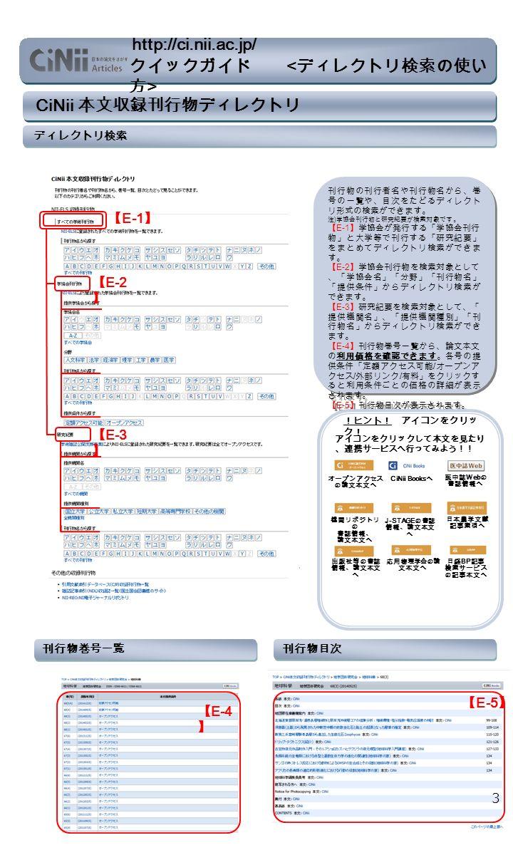 CiNii 本文収録刊行物ディレクトリ ディレクトリ検索 刊行物の刊行者名や刊行物名から、巻 号の一覧や、目次をたどるディレクト リ形式の検索ができます。 注 ) 学協会刊行物と研究紀要が検索対象です。 【 E-1 】学協会が発行する「学協会刊行 物」と大学等で刊行する「研究紀要」 をまとめてディレクトリ検索ができま す。 【 E-2 】学協会刊行物を検索対象として 、「学協会名」「分野」「刊行物名」 「提供条件」からディレクトリ検索が できます。 【 E-3 】研究紀要を検索対象として、「 提供機関名」、「提供機関種別」「刊 行物名」からディレクトリ検索ができ ます。 【 E-4 】刊行物巻号一覧から、論文本文 の利用価格を確認できます。各号の提 供条件「定額アクセス可能 / オープンア クセス / 外部リンク / 有料」をクリックす ると利用条件ごとの価格の詳細が表示 されます。 【 E-5 】刊行物目次が表示されます。 刊行物の刊行者名や刊行物名から、巻 号の一覧や、目次をたどるディレクト リ形式の検索ができます。 注 ) 学協会刊行物と研究紀要が検索対象です。 【 E-1 】学協会が発行する「学協会刊行 物」と大学等で刊行する「研究紀要」 をまとめてディレクトリ検索ができま す。 【 E-2 】学協会刊行物を検索対象として 、「学協会名」「分野」「刊行物名」 「提供条件」からディレクトリ検索が できます。 【 E-3 】研究紀要を検索対象として、「 提供機関名」、「提供機関種別」「刊 行物名」からディレクトリ検索ができ ます。 【 E-4 】刊行物巻号一覧から、論文本文 の利用価格を確認できます。各号の提 供条件「定額アクセス可能 / オープンア クセス / 外部リンク / 有料」をクリックす ると利用条件ごとの価格の詳細が表示 されます。 【 E-5 】刊行物目次が表示されます。 アイコンをクリックして本文を見たり 、連携サービスへ行ってみよう!! !ヒント! アイコンをクリッ ク! 刊行物巻号一覧 【 E-4 】 刊行物目次 【 E-5 】 J-STAGE の書誌 情報、論文本文 へ 応用物理学会の論 文本文へ オープンアクセス の論文本文へ 出版社等の書誌 情報、論文本文 へ 機関リポジトリ の 書誌情報、 論文本文へ 日本農学文献 記事索引へ CiNii Books へ 医中誌 Web の 書誌情報へ 日経 BP 記事 検索サービス の記事本文へ 3 クイックガイド http://ci.nii.ac.jp/ 【 E-1 】 【 E-2 】 【 E-3 】
